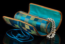 Teal Satin Jewelry Tube - Open