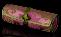 Burgundy/Mauve Satin Chinoiserie Jewelry Tube