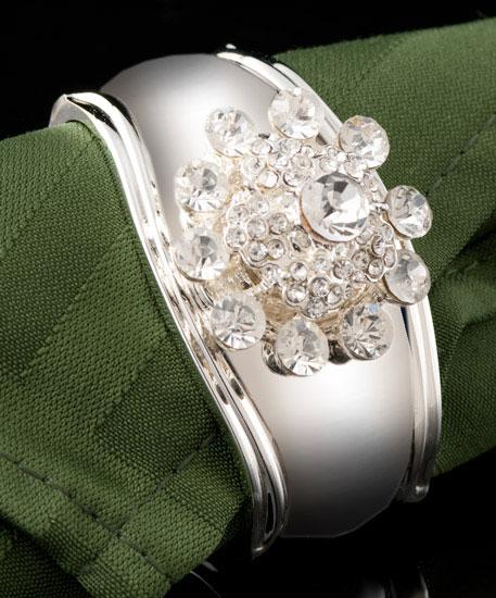 Silver Snowflake Jeweled Napkin Rings