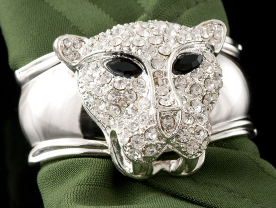 Silver Panther Jeweled Napkin Rings