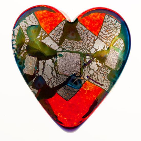 Cherry Mosaic Heartbeat Paperweight