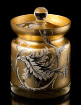 Scott Potter Gold Leaf Damask Covered Jar