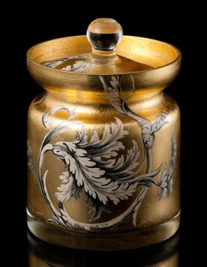 Gold Leaf Damask Covered Jar