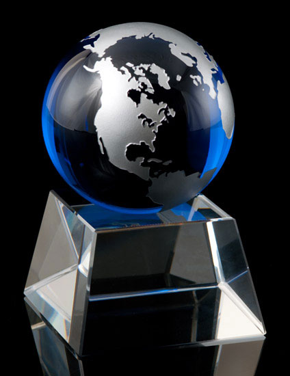 Cobalt Blue and Silver Globe on Crystal Base