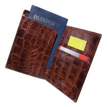 Brown Crocodile Passport/Credit Card Wallet