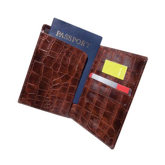 Brown Crocodile Passport/Credit Card Holder