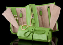 Highland Green Leather Jewelry Roll