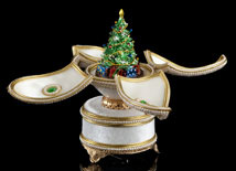 Jeweled Christmas Tree Musical Egg - Open