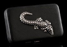 Black Lizard Card Case with Alligator Medallion