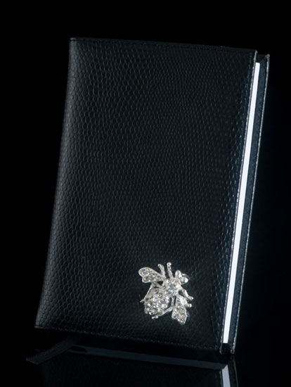 Black Lizard Diary with Jeweled Bee