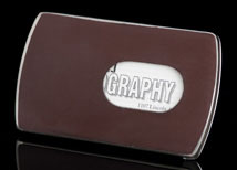 Prestige Brown Leather Business Card Dispenser