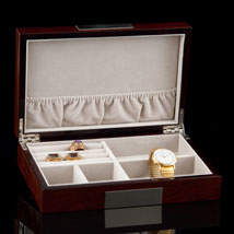 Walnut Lacquered Jewelry Box - Open