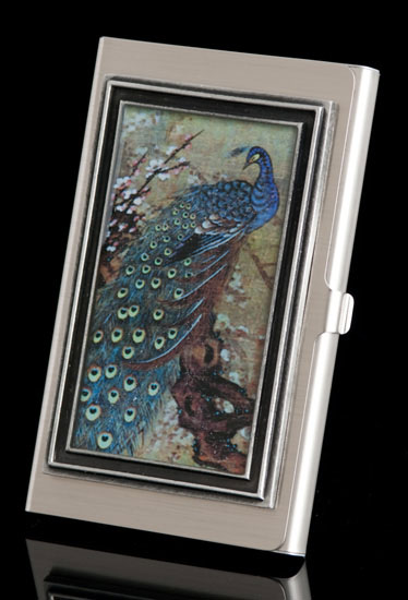 Regal Peacock Business Card Holder