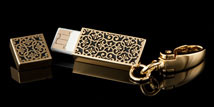 Golden Lace USB Drive Key Chain - Open