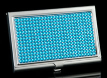 Turquoise Jeweled Business Card Holder