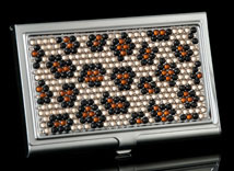 Leopard Jeweled Business Card Holder