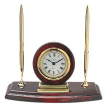 Diplomat Mahogany Clock and Pen Set