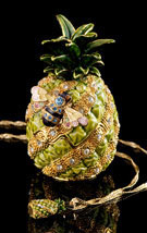 Miniature Jeweled Pineapple Box With Necklace