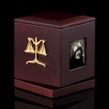 Legal Rotating Frame Box with Clock - Scales of Justice
