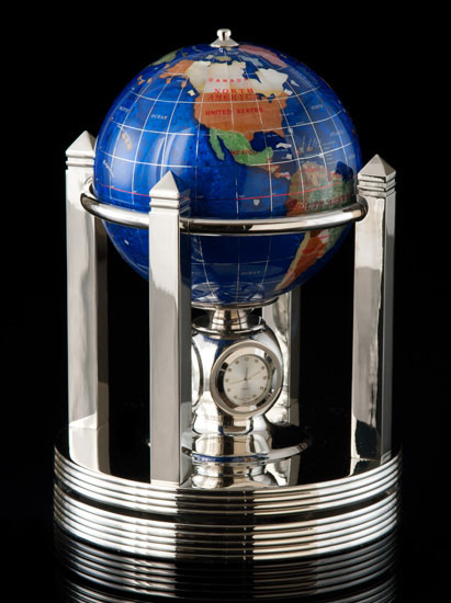 Caribbean Blue Rotating Globe with Clock