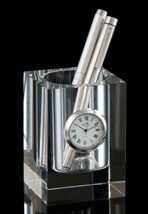 Crystal Pen Holder With Clock