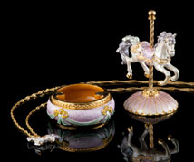 Jeweled Carousel Box and Necklace - Open
