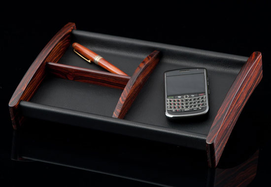 Cocobolo and Leather Valet Tray