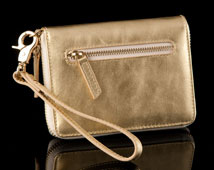 Gold Leather Cell Phone Pouchette