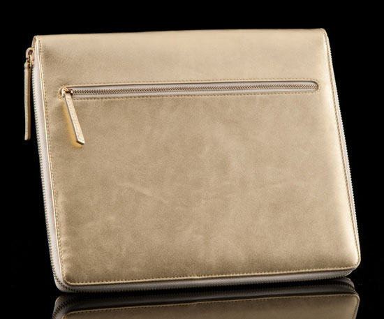 Gold Leather iPad Tablet Folio