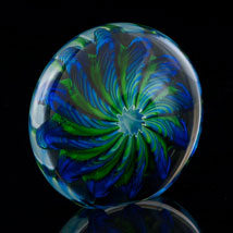 Cobalt and Emerald Artglass Pinwheel Paperweight