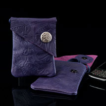 Purple Psssion Embossed Leather Cell Phone Pouchette