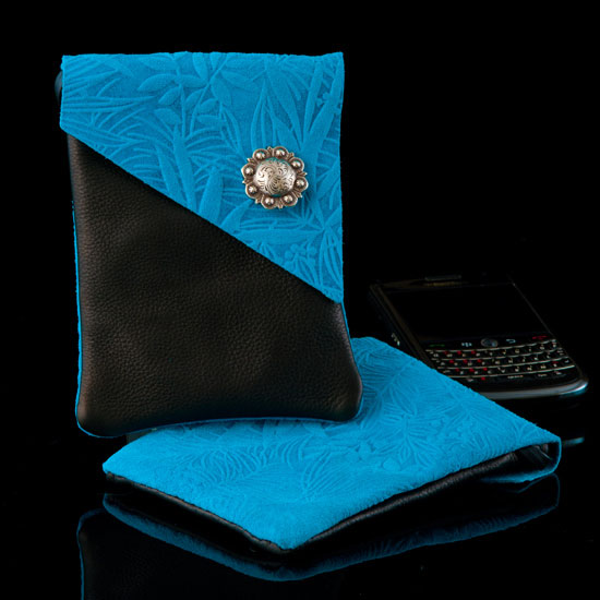 Turquoise Fauna Embossed Leather Cell Phone Case