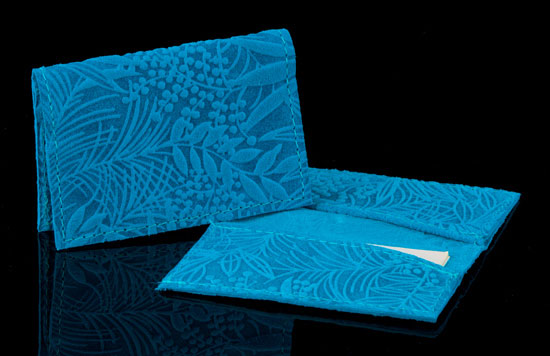 Turquoise Fauna Embossed Leather Card Case