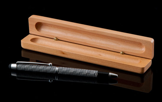 Herringbone Ballpoint Pen/Stylus in Wooden Box