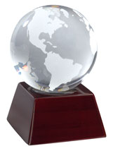 Clear Opti-Crystal Globe on Wooden Base
