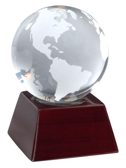 Clear Opti-Crystal Globe on Mahogany Base