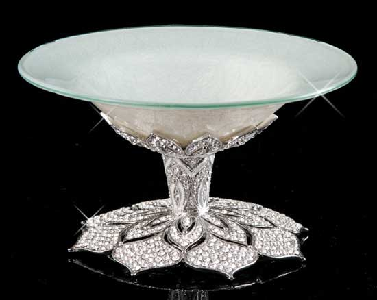 Shimmering Lace Jeweled Pedestal Dish