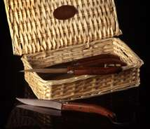 French Designer Steak Knives in Willow Basket