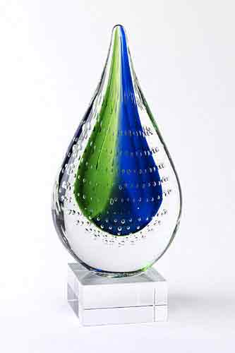Blue-Green Ice Flame Art Glass