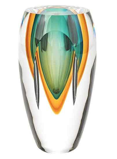 Copper Green Art Glass Vase In Art Glass