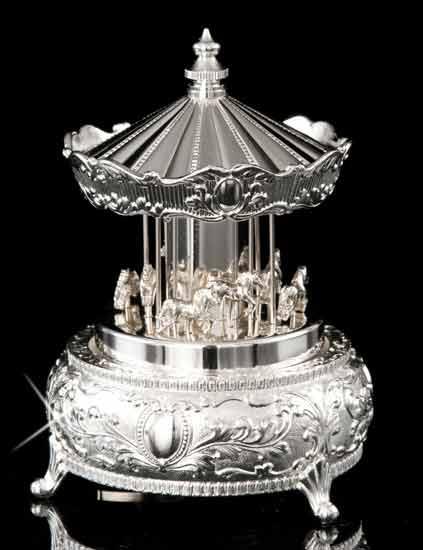 Silver Carousel Music Box
