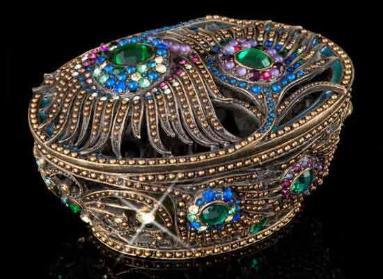 Jeweled Peacock Feathers Decorative Box