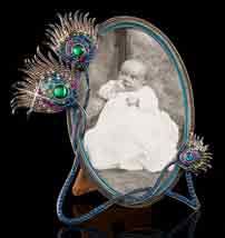 Jeweled Peacock Feathers Oval Frame
