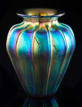Iridescent Royal Peacock Vase
