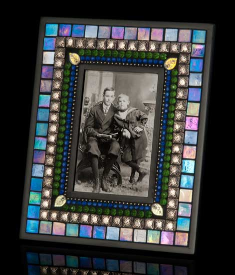 Azure Blue Mosaic Picture Frame