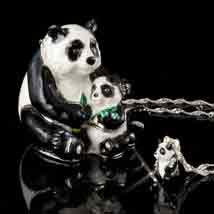 Mother Panda And Baby Jeweled Box With Necklace