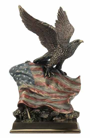 American Bald Eagle with Stars and Stripes Statue