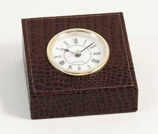 Crocodile Leather Desk Clock