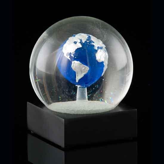 Blue Earth Snow Globe