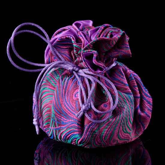 Pink Peacock Brocade Jewelry Pouch